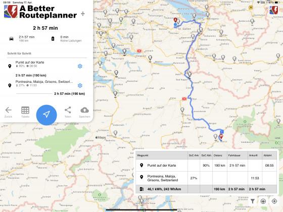 Die geplante Route wenn kein Schnee mehr fällt (wurde dann noch um den Maloja Pass erweitert!